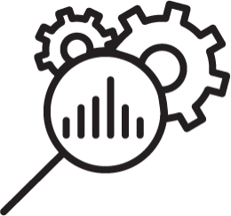 Magnifying Glass Hovering Over Gears and Bar Graph - Icon