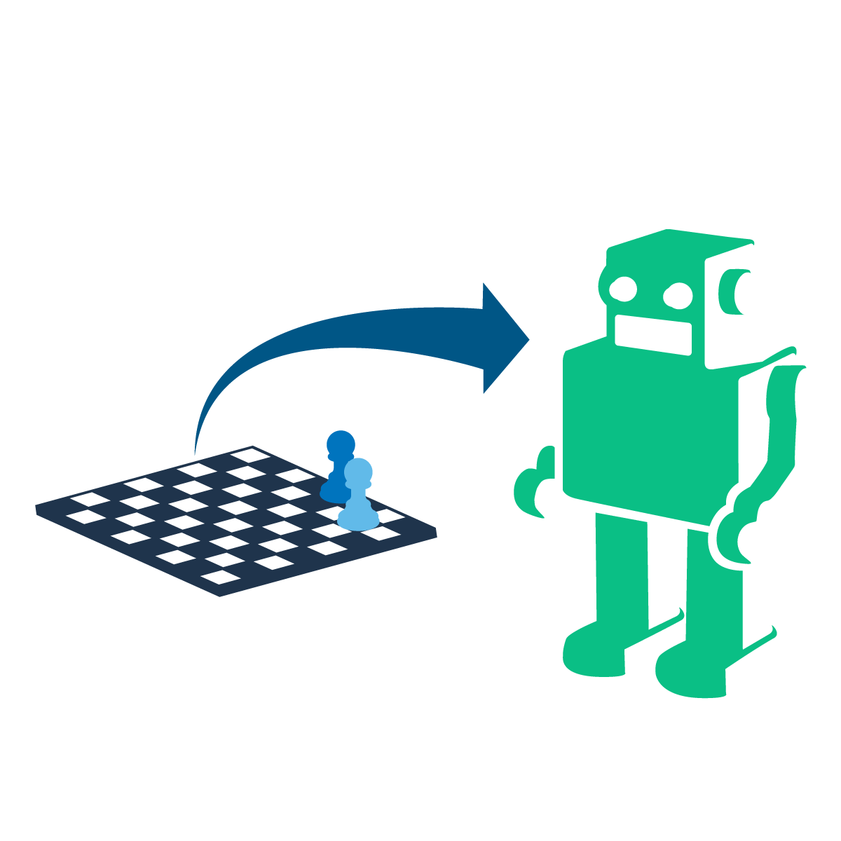 Chess board and arrow to robot graphic