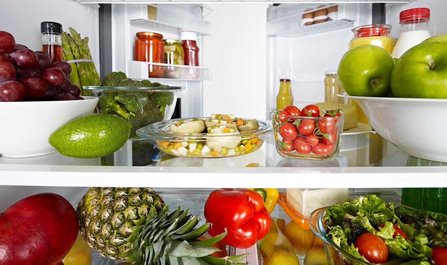 Food in open refrigerator