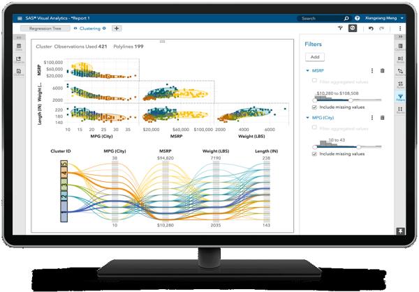 SAS Analytics для IoT показывает матрицу кластеризации на настольном мониторе
