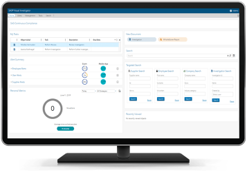 SAS Continuous Monitoring for Procurement Integrity showing alert summary home screen for auditor or investigator on desktop monitor