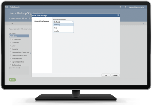 SAS Data Loader for Hadoop showing ability to select SQL environment on desktop monitor