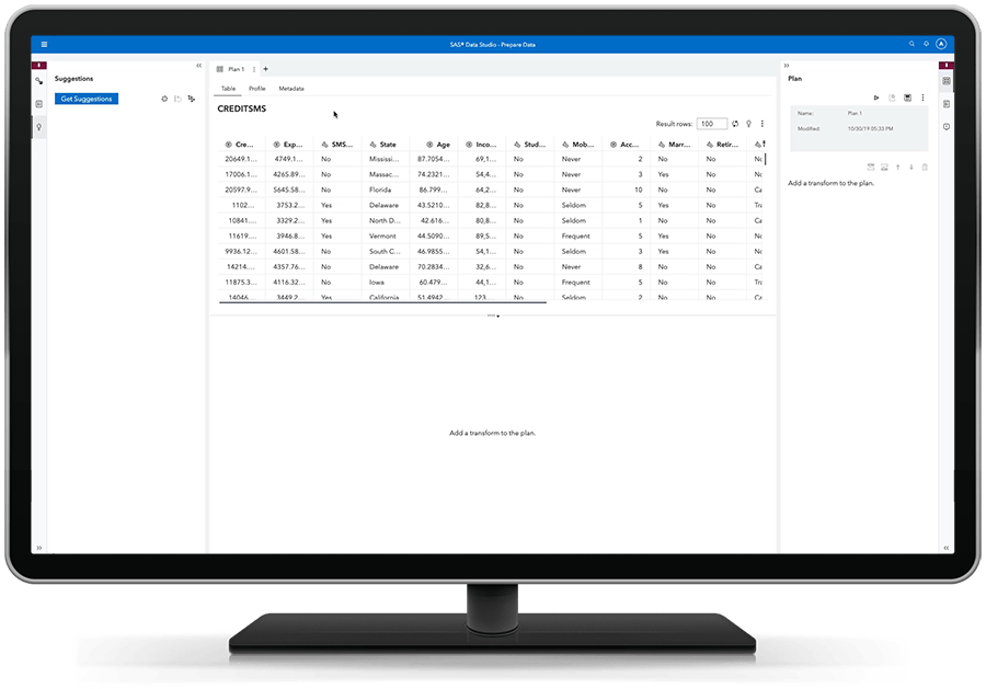 SAS Visual Analytics on SAS Viya showing self service data preparation