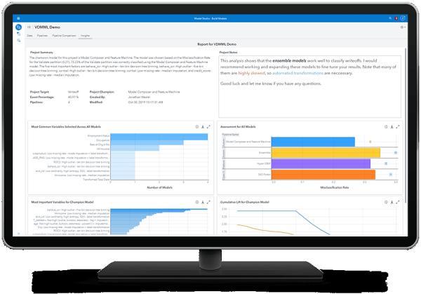SAS Visual Data Mining и Machine Learning демонстрируют автоматизированное понимание с генерацией естественного языка на настольном мониторе