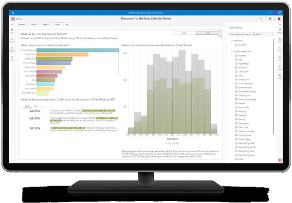 SAS Visual Data Mining и Machine Learning, показывающие автоматические объяснения на настольном мониторе