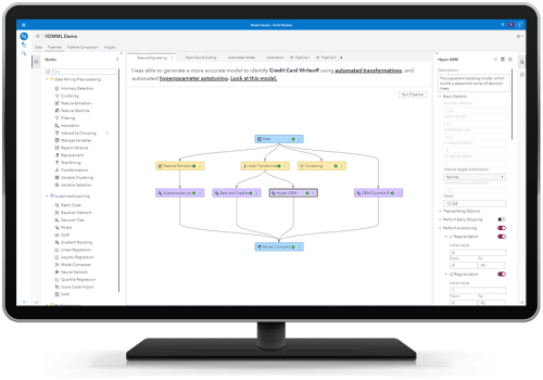 SAS Visual Data Mining and Machine Learning - pipeline view