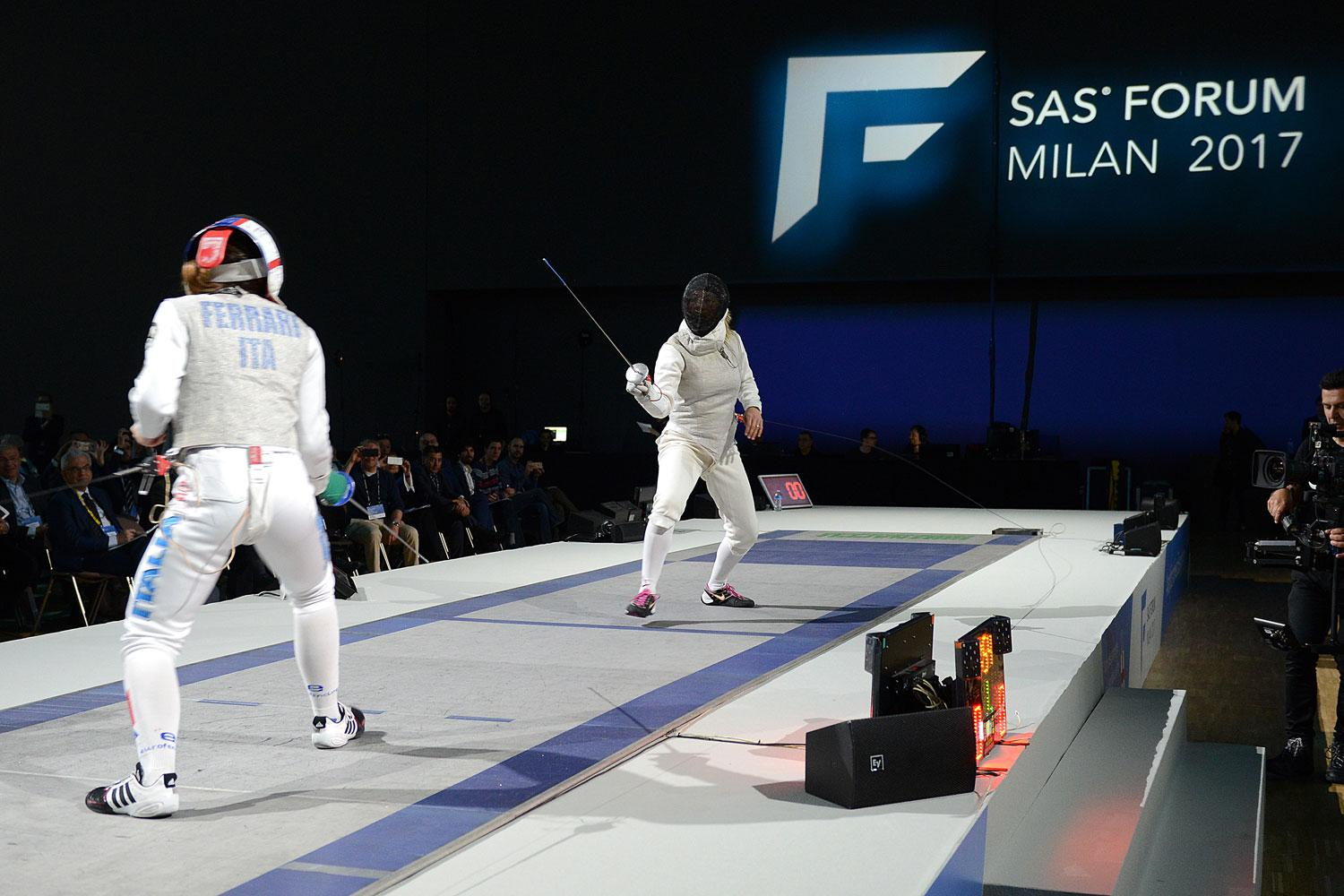 Granbassi and Ferrari fencing live at SAS Forum Milan 2017