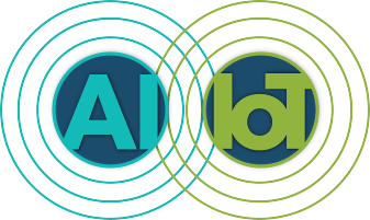 AI and IoT in overlapping circles of teal and green