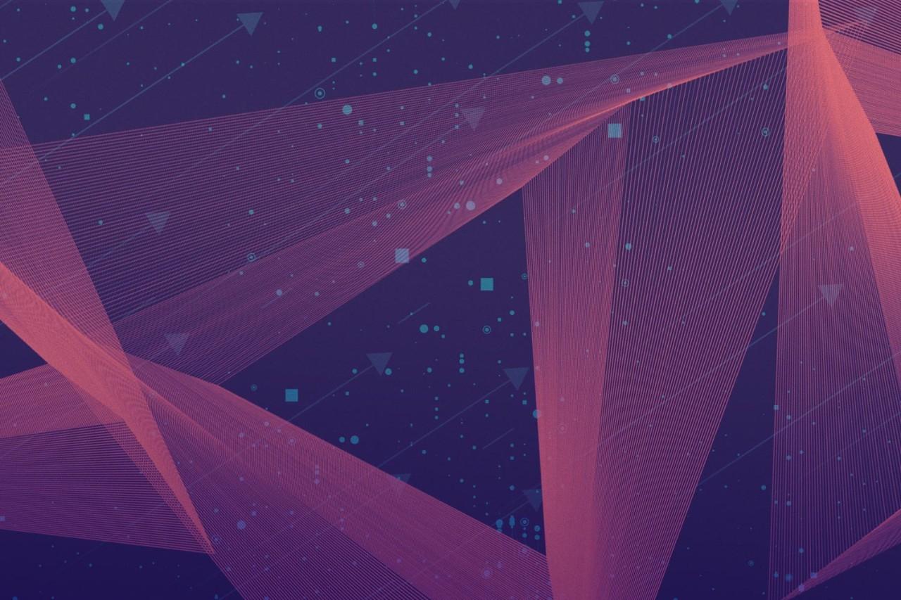 Dark pink light beams and blue shapes on dark purple background