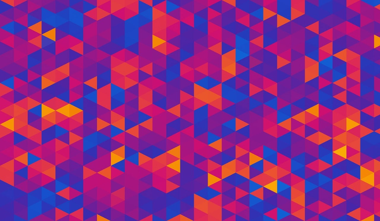 Abstract Ultra Violet Blue Orange Geometric Triangle Shapes