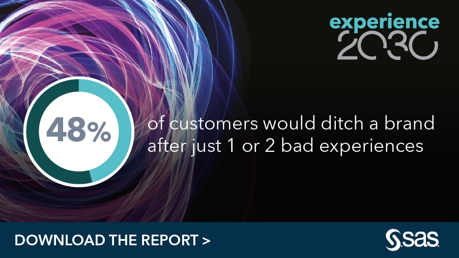 Experience 2030 - 48% of customers would ditch a brand after just 1 or 2 bad experiences