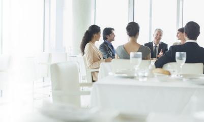 Business meeting over breakfast