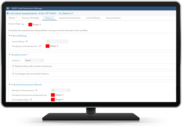 SAS Credit Assessment Manager showing restaging on desktop monitor