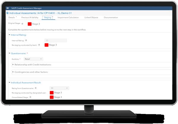 SAS Credit Assessment Manager showing restaging on desktop monitor