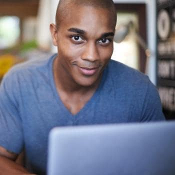 Man looking at computer