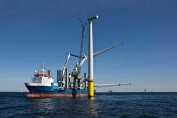 Offshore windmill under construction
