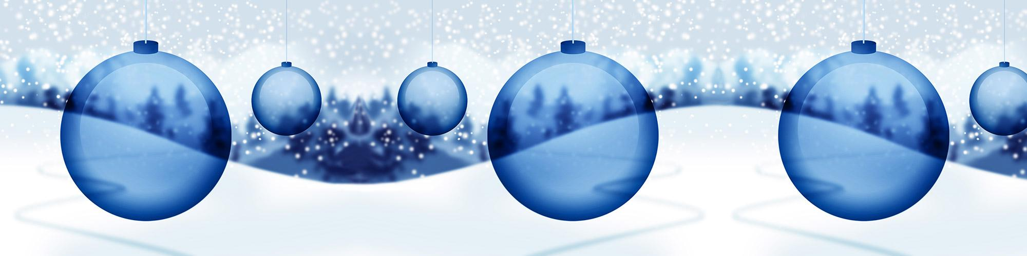 Christmas ornaments and winter landscape