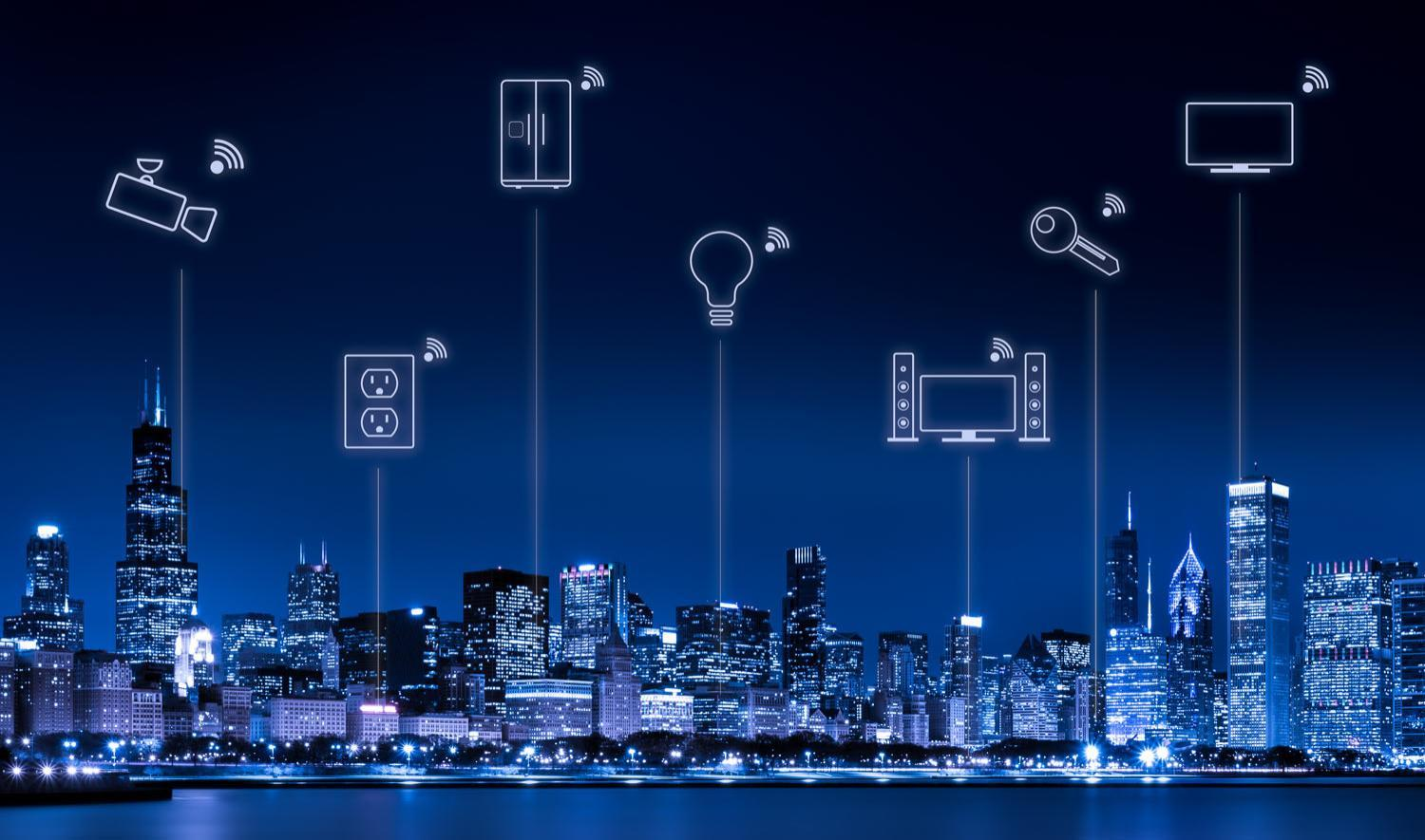 Chicago Skyline with Internet of Things