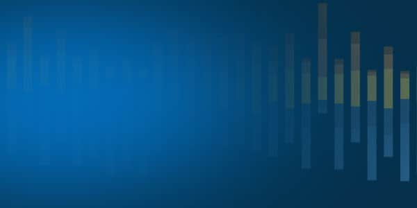 Vertical bar graph on blue and midnight gradient