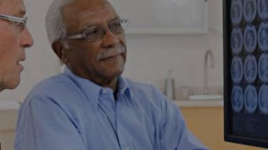 Doctor discussing scan with patient