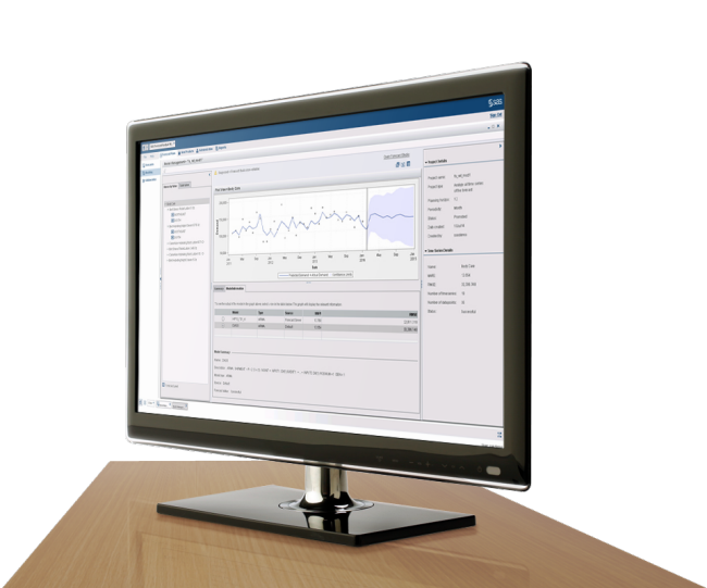 SAS Forecast Analyst Workbench shown on desktop monitor