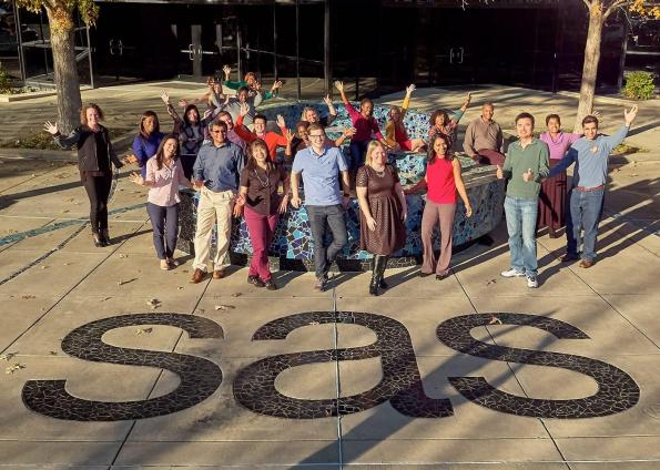 Happy SAS employees posing in front of SAS US headquarters