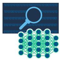 รหัสไบนารี่หรือเลขฐานสองบนพื้นหลังสีดำพร้อมกับกราฟฟิกแว่นขยาย