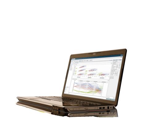 สกรีนช็อตของ SAS Visual Analytics แสดงอยู่บนแล็ปท็อป
