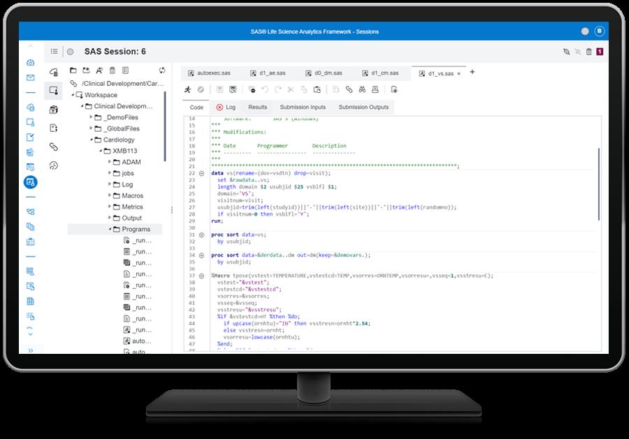 SAS Life Science Analytics Framework showing analytics on desktop monitor