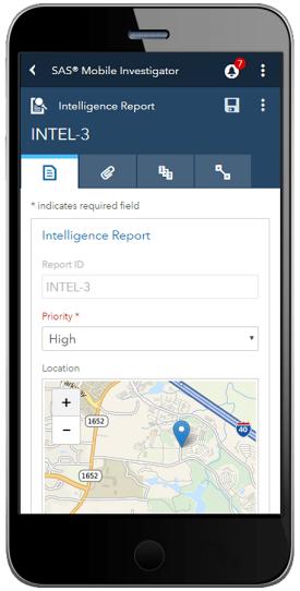 SAS Mobile Investigator showing object details on tablet device