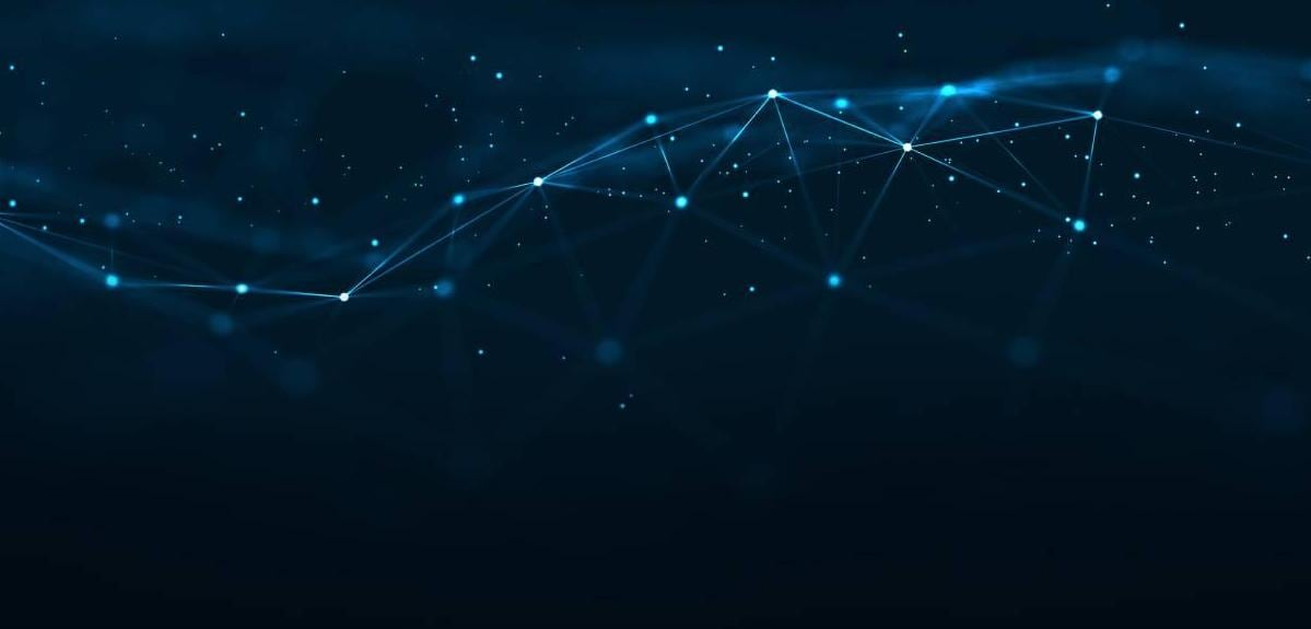 Connecting Blue Dots on Dark Background