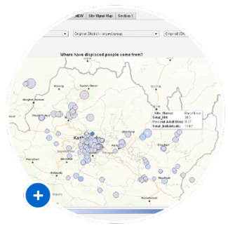 Thumbnail of analytics showing where Nepal's displaced families came from
