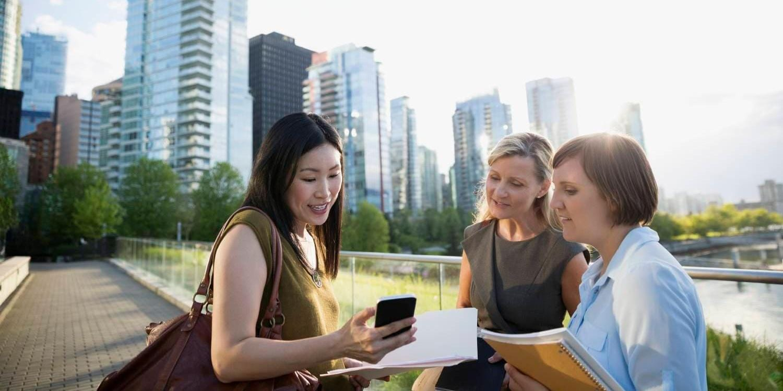 Business women outside in a city