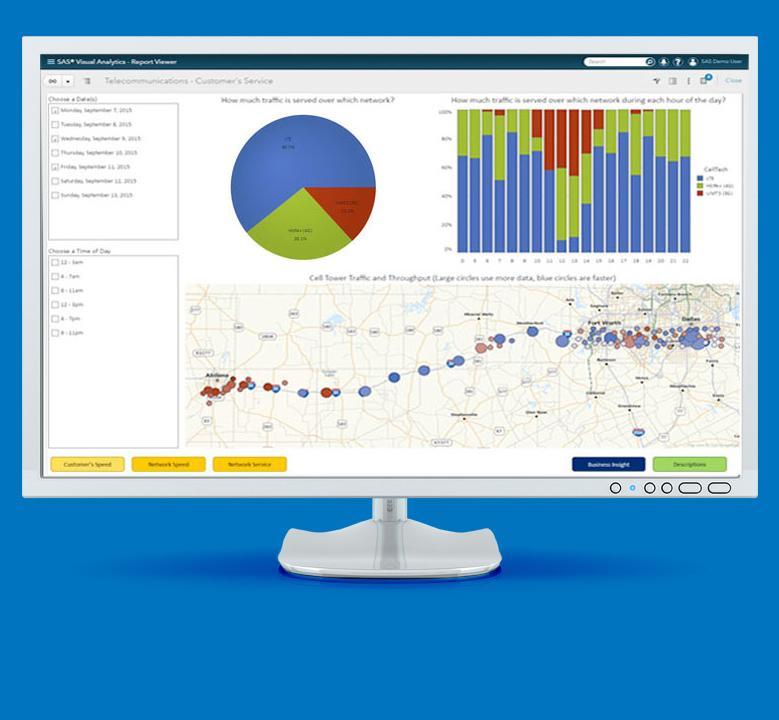 监视器上的 SAS 可视化分析截图