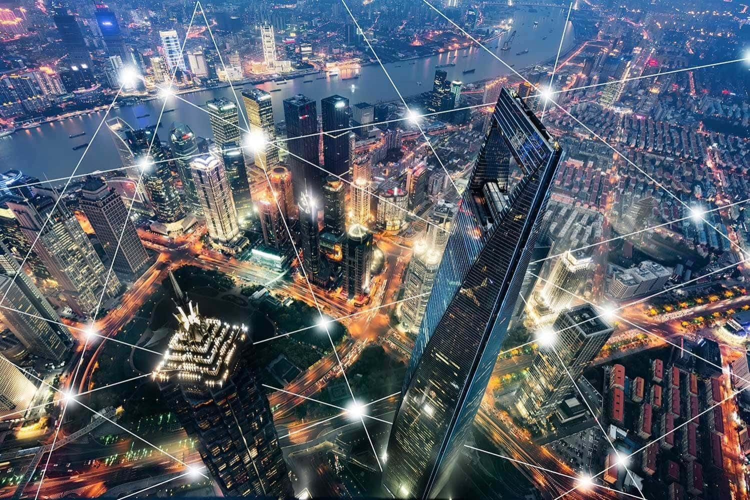 Aerial view of a smart city with connected lines overlay