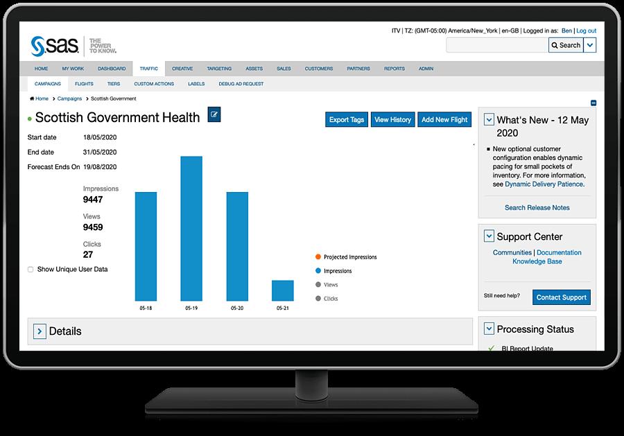 SAS 360 Match showing campaign details on desktop monitor
