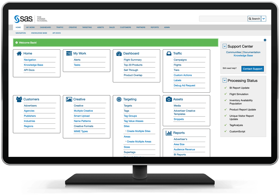 SAS 360 Match showing welcome screen on desktop monitor
