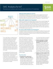 SAS® Analytics for IoT