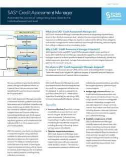 SAS® Credit Assessment Manager