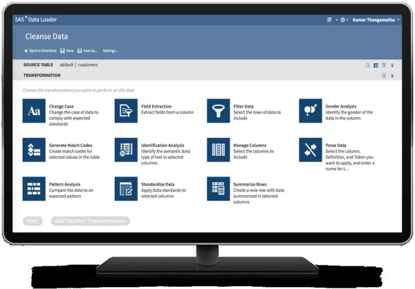 在台式电脑显示器上的 SAS Hadoop 数据加载器显示 Hadoop 指令中的清理数据