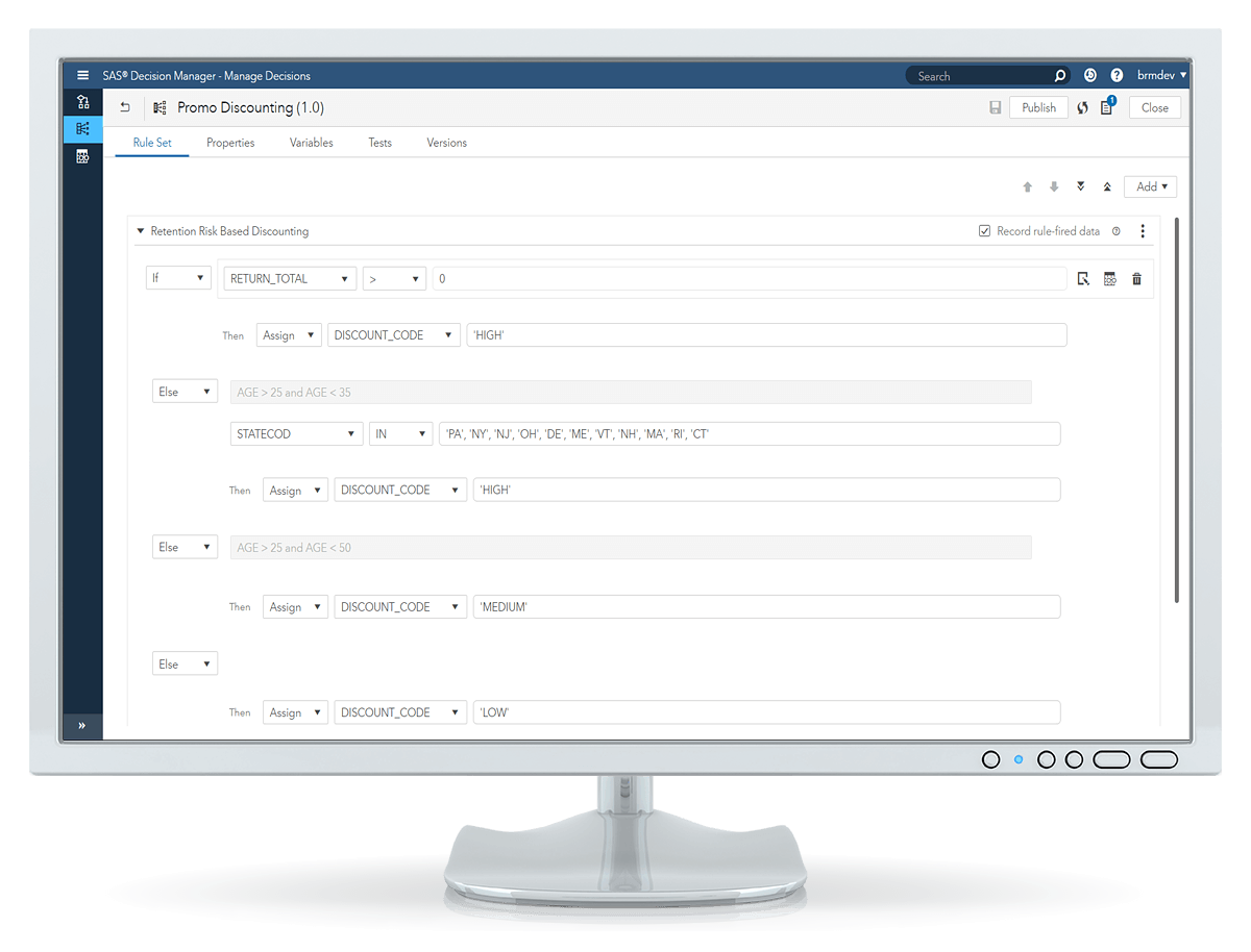 SAS Decision Manager rule test editor shown on desktop monitor
