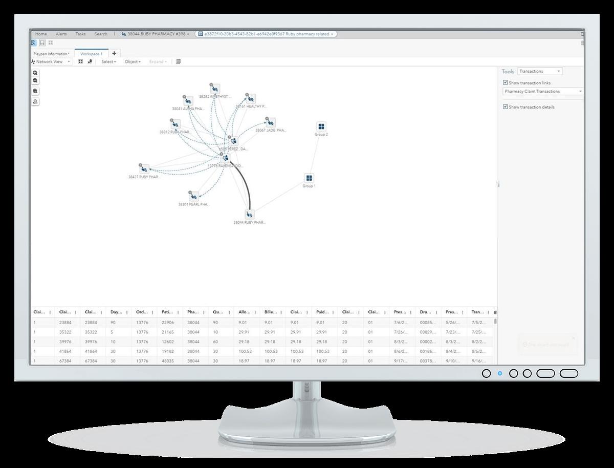 在台式电脑显示器上的 SAS 侦测和调查(医疗保健行业版)显示网络视图