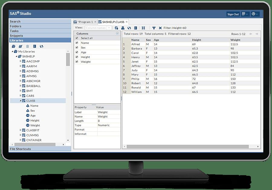 教育分析套件在桌面显视器上显示 SAS Studio 储存库