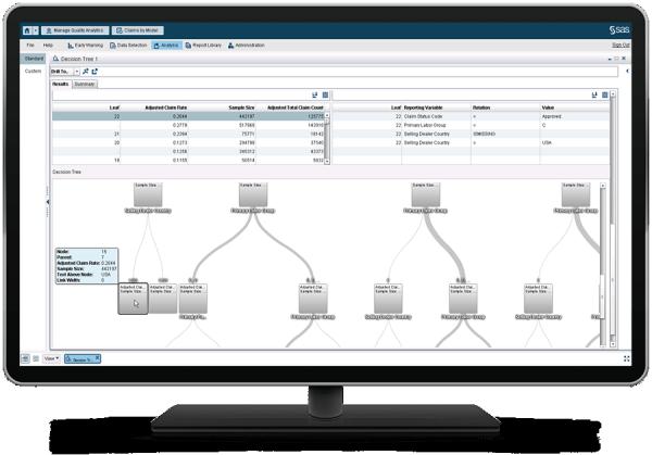 台式电脑显示器上的 SAS 现场质量分析显示决策树