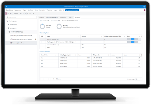 SAS Visual Investigator scenario adminstration report shown on desktop monitor