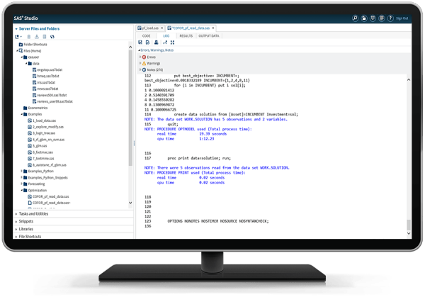 台式电脑显示器上显示 SAS Optimization
