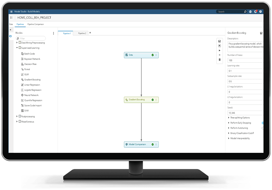 SAS 风险建模在台式电脑显示器上显示稳健的机器学习模型开发