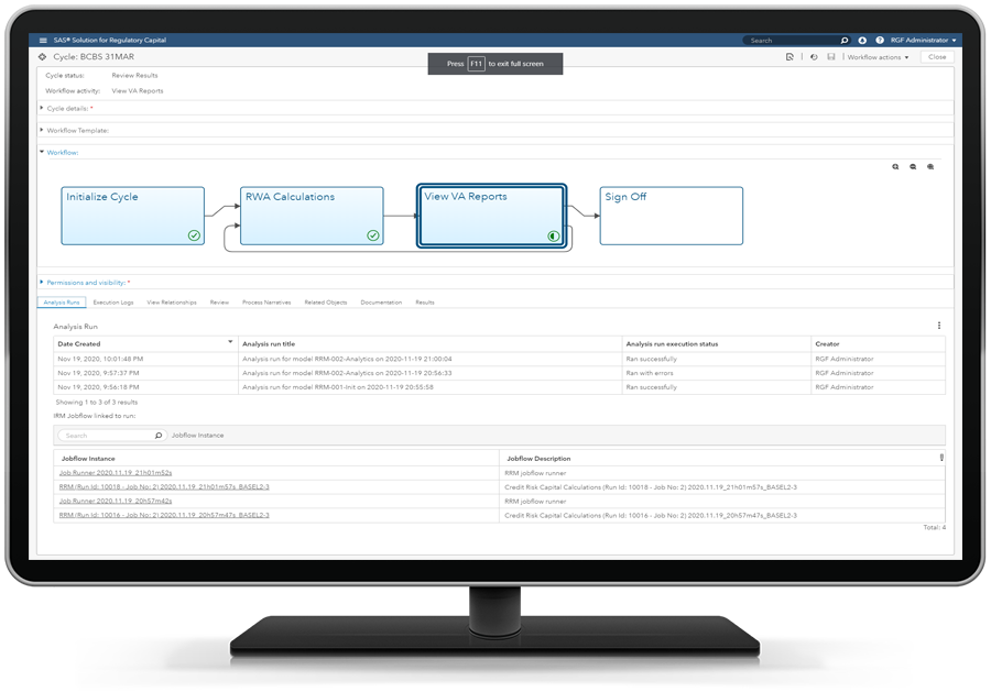 SAS Solution for Regulatory Capital showing cycles on desktop monitor