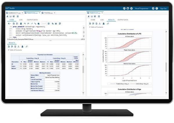 SAS/STAT showing PSMATCH PROC on desktop monitor