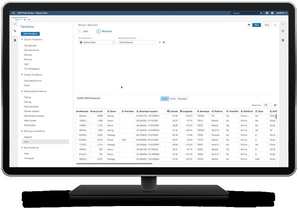 SAS 可视化分析在台式电脑显示器上显示自助数据准备